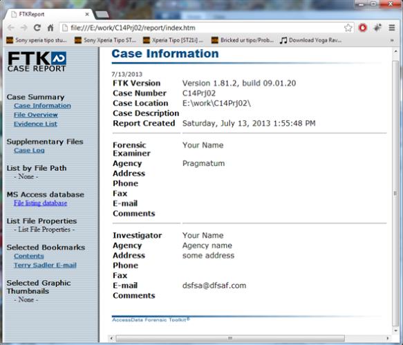 FTK HTML Report
